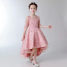 Fashionable a line mandarin collar high low asymmetrical hem tulle flower girl dresses with beaded appliques – Artofit Party Wear Frocks, Kids Party Wear Dresses, Kids Dress Wear, Baby Girl Party Dresses, Kids Gown, Dressy Dresses, Little Girl Dresses, Baby Dress, Flower Girl Dresses