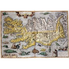 Hand Colored Map of Iceland Canvas Art - Abraham Ortelius (20 x 28)