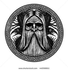 Norse God Odin with crows and old tree. Graphic illustration - buy this illustration on Shutterstock & find other images. Warrior Symbol Tattoo, Warrior Symbols, Norse Tattoo, Wiccan Tattoos, Inca Tattoo, Viking Tattoos, Symbol Tattoos, Tatoos, Mayan Symbols