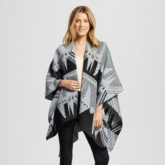 Women's Print Ruana Wrap - Grey