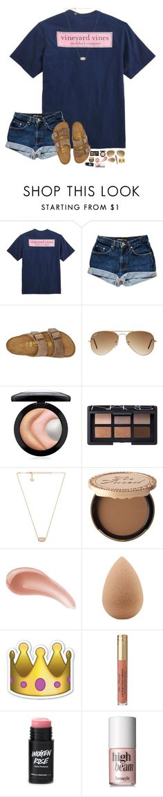 """""""rlly going to miss @sassysouthernprep99 while she's on vacation... """" by hopemarlee ❤ liked on Polyvore featuring Vineyard Vines, Birkenstock, Ray-Ban, MAC Cosmetics, NARS Cosmetics, Kendra Scott, Too Faced Cosmetics, Stila, Bare Escentuals and beautyblender"""