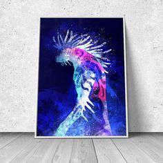 Nightwalker, Mononoke Hime inspired, Deer God, Shishigami, watercolor illustration, giclee art print, anime print, wall decor
