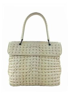Bottega Veneta Woven Bubble Leather Flap Satchel Bag Ivory