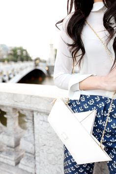 Cherry Blossom Girl in Paris. Love the anchors, enjoy the white and navy.