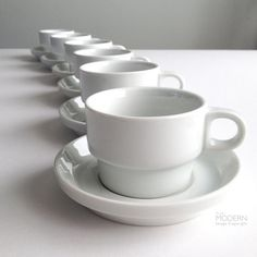 Lovely set of six (6) Thomas Germany TC100 cup and saucer sets. The line was originally designed in 1959 by Hans Roericht, and is in MOMAs permanent