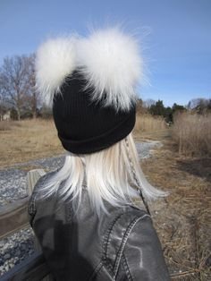 2 Real Fur Pom Pom Hat Bobble Skullcap Black Knit Cuff Beanie Cotton Thick Warm  Winter 608f3232e08c