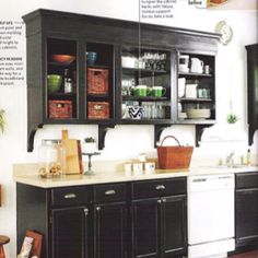 kitchen cabinets are made of particle board from 1972.  I'm wondering if black paint would help?  Open shelves seem to hard to keep tidy and dust free.