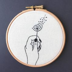Dandelion Clock Embroidery Hoop Art // Hand Stitched // Wall Art // For Nature Lovers