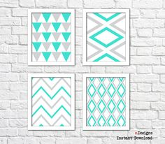 Printable Geometric Wall Art Turquoise and Grey Wall by eDesignss Turquoise Wall Decor, Turquoise Walls, Geometric Wall Art, Grey Walls, Printables, Quilts, Unique Jewelry, Handmade Gifts, Etsy