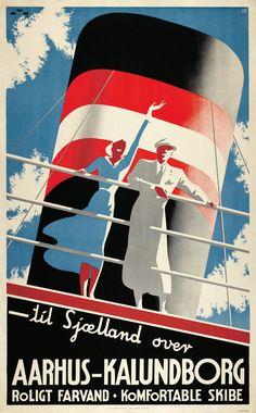 Vintage 1935 Aarhus-Kalundborg poster by Henry Thelander Poster Ads, Advertising Poster, Poster Prints, Old Posters, Art Deco Posters, Retro Posters, Aarhus, Vintage Advertisements, Vintage Ads