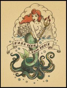 Mermaid Tattoo- I love the vintage look