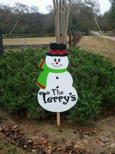 Wooden yard decor snowman
