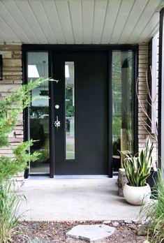 Mid-Century Modern Door | Modern Exterior Door | Black Door | Door with Sidelites | Mid-Century Modern Door Handle | Exterior Door