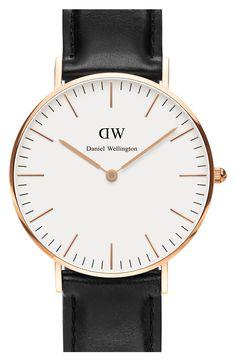 Daniel Wellington 'Classic Sheffield' Leather Strap Watch, 36mm