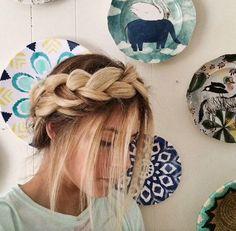 A lovely milkmaid braid! Bad Hair Day, Messy Hairstyles, Pretty Hairstyles, Hair Rainbow, Hair Colorful, Milkmaid Braid, Plaits, Big Chop, Hair Dos