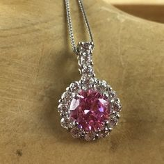 Exotic 1.5 ct Pink and White Sapphire Halo Sterling Silver Pendant Necklace TE PZ-2030-P. Starting at $1