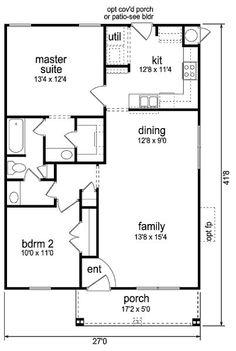 990 square feet, 2 bedrooms, 1 batrooms, on 1 levels, Floor Plan Number 1