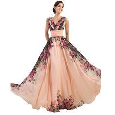 3 Designs Robes De Soirée Stock Une Épaule Fleur Motif Imprimé floral En Mousseline de Soie Robe de Soirée Robe De Partie Longue De Bal robes 2017