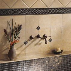 Clefted Bronze Mosaic And Polished Corbel Accent Strip Metal Ages By Daltile Kitchen Tiles
