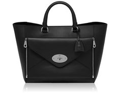 Mulberry - Willow Tote in Black & Nickel Silky Classic Calf