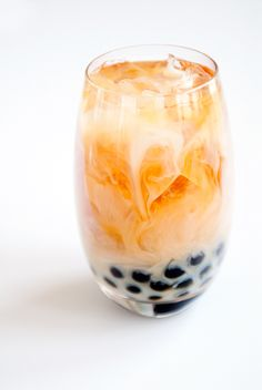 Thai Bubble Tea.    Basic Bubble Tea:      -------------------------      1 cup brewed black or green tea or espresso      7 to 8 ice cubes      1 cup rice milk or almond milk      sugar to taste      1/2 cup tapioca pearls    more --> http://www.grouprecipes.com/72666/thai-boba-or-bubble-tea.html
