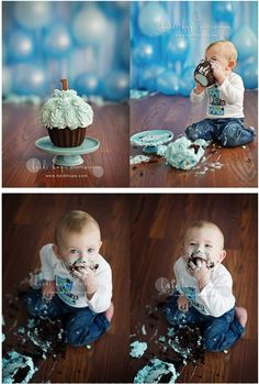 cake smash photo session - balloon background is cute!