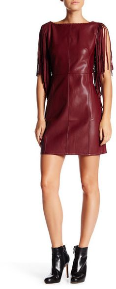 Romeo & Juliet Couture Faux Leather Fringe Dress