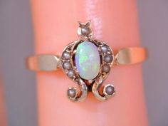 ANTIQUE VICTORIAN 10K GOLD COLORFUL OPAL & SEED PEARL RING  $9.99  | eBay