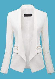Sheinside offers White Long Sleeve Zipper Fitted Blazer & more to fit your fashionable Elegantes Outfit, Jackett, Blazer Fashion, Fashion Boots, Work Attire, Mode Inspiration, White Long Sleeve, Mode Style, Jacket Style
