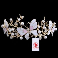 Gold Rhinestone Tree Branches Crystal Tiara Head Butterfly Crown Hair Jewelry #Crown