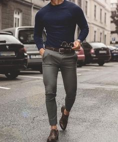 Men'S fashion › fashion for 30 year old men men's navy crew-neck sweater, grey chinos, dark brown leather oxford shoes, Stylish Mens Outfits, Casual Outfits, Men Casual, Stylish Man, Casual Clothes, Mens Fashion Suits, Mens Suits, Men Fashion Casual, Classy Fashion