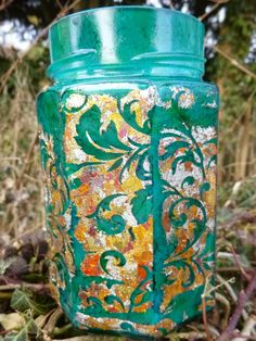 DIY Glass jar altered with alcohol inks and gilding flakes #tutorial by Alison Bomber
