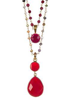 Ruby Layered Pendant Necklace Set on @HauteLook