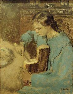 Annette a la miche de pain,  Edouard Vuillard. French Post-Impressionist, Nabi Painter (1868 - 1940)