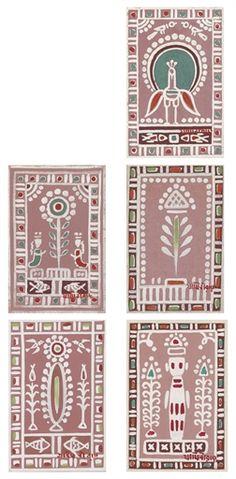 Jamini Roy - Untitled (Five paintings) Madhubani Art, Madhubani Painting, Jamini Roy, Worli Painting, Paisley Art, Indian Artist, Wow Art, Hindus, Traditional Paintings
