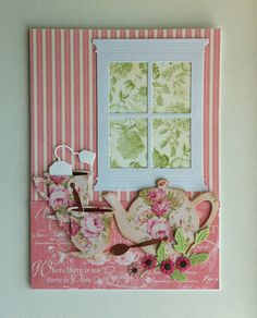 Card with window, memorybox die and tea set die from Impression Obsession, Graphic 45 Botanical tea paperpad #windowcard - JKE