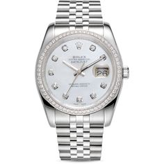 Pre-Owned Rolex 18K White Gold and Stainless Steel Datejust Diamond... (€12.195) ❤ liked on Polyvore featuring jewelry, watches, diamond watches, white gold jewellery, rolex wrist watch, stainless steel wrist watch and rolex watches