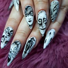 My God! I've blown my own mind and freaked myself out at the same time! nails done today (all day) for the… Goth Nails, Swag Nails, Acrylic Nail Designs, Acrylic Nails, Hair And Nails, My Nails, Anime Nails, Nails Design With Rhinestones, Nail Tattoo