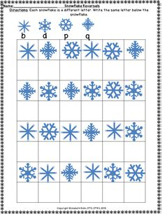 Are you looking for a fun packet to do after the holidays that focus on fun snowflakes for both reversals and gross motor skills? This packet focuses on students practicing reversals with 4 different levels for 21 pages. The reversals focus on mostly b,d,p,q. There are 6 pages of gross motor packet that include different actions such as jumping, clapping, and crossing midline. This works on developmentally appropriate skills such as coordination, crossing midline, visual motor integration…
