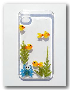 Handmade iPhone 4/4s case, Resin with Dried Flowers, Pressed flower, Aquarium