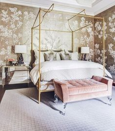 Oh, dreaming of this beautiful bedroom. Just adore the wallpaper Wedding Inspiration and social media by Emma Hunt London X