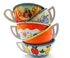 1930s-1960s tin toy tea cups. by AlliesAdornments, via Flickr