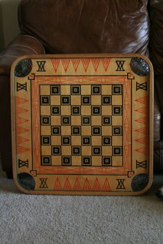 Large Antique Double Sided Carrom Game Board with Viking Ships  -Unique Wall Hanging for Living Room or Family Room - Checkers Black and Red on Etsy, $189.00