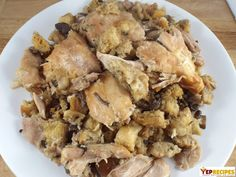 Slow Cooker Chicken and Stuffing Casserole - Moist chicken thighs and mushroom sage stuffing cooked in your slow cooker. #food #slowcooker #crockpot  #chickenrecipe