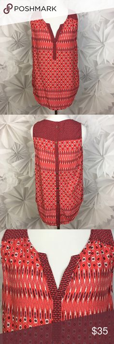 """[Lucky] Ikat Boho Red Button Back Tank Hippie Chic Lightweight and breezy mixed pattern tank. Sleeveless. Split v-neck. Buttons down the back. Split shirttail hem.   🔹Fabric: 100% Rayon  🔹Bust: 18"""" 🔹Length: 26"""" - 28"""" 🔹Condition: EUC. No flaws.  Measurements taken while lying flat. Lucky Brand Tops Tank Tops"""