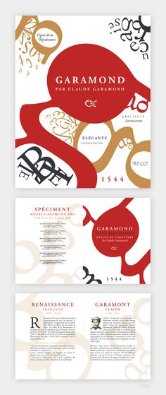 Garamond (by Claude Garamond) type specimen fold poster on Behance by Olga Agafonova, @Lubeni.ca