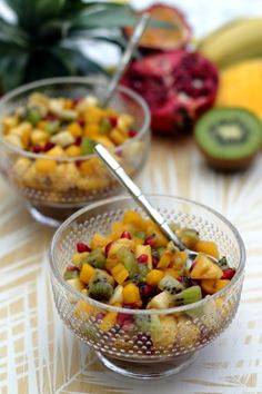 Salade de fruits exotiques au sirop léger à la vanille