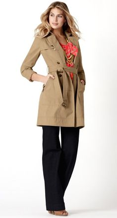 navy blue pants, coral top, trench coat