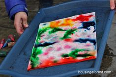 5 fun ways to paint in the rain: let the rain wet the paper then drop food colouring on with eye droppers for added fine motor practise