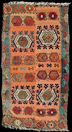Kurdish MALATYA tribal kilim, ca. mid-20th century.  With two wings.